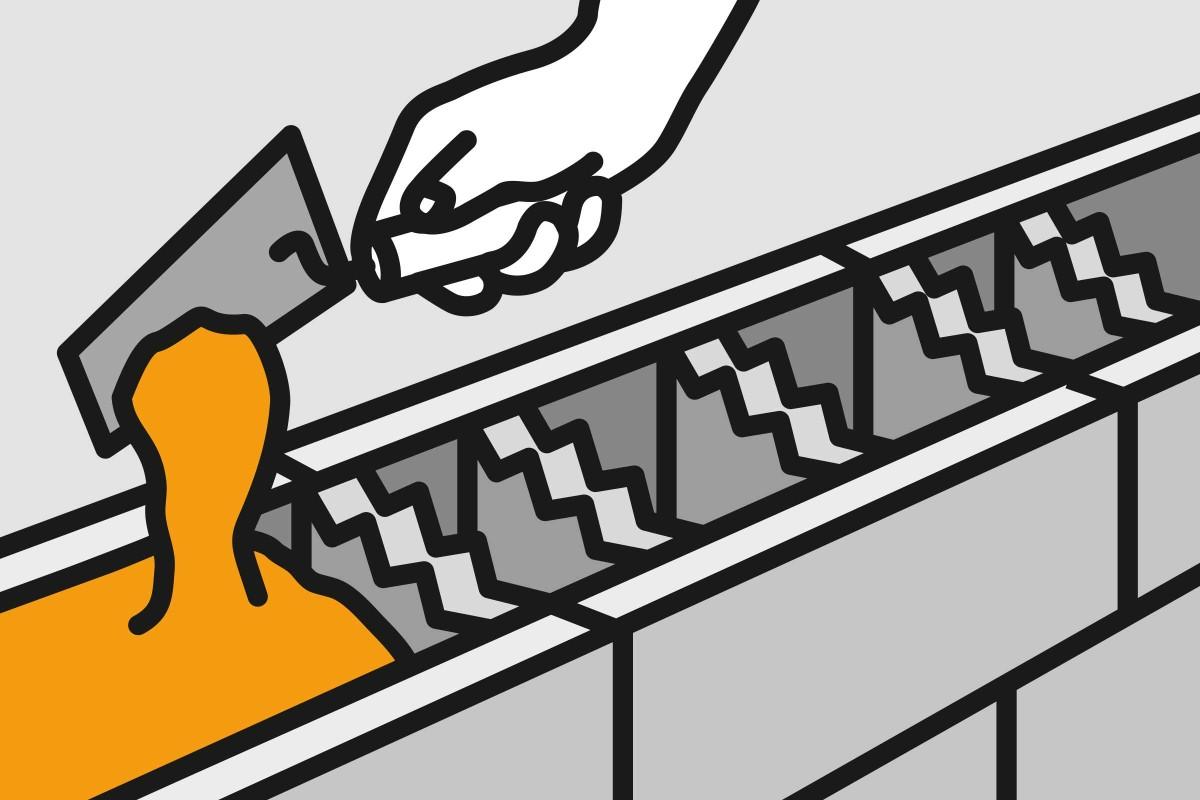 Schalungssteine mit Beton füllen 02
