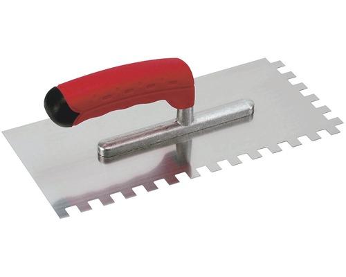 Edelstahl-Glättekelle Kaufmann gezahnt 6x6 mm mit Softgriff