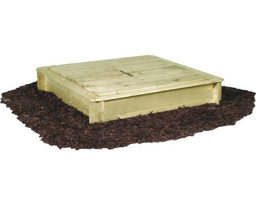 Bac à sable bois avec couvercle 120x120x28cm traité en autoclave par imprégnation