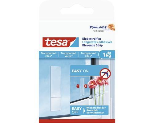 tesa® Powerstrips Klebestreifen transparent für Glas 1 kg Belastung 8 Stk.