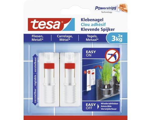 tesa® Powerstrips Klebenagel weiss verstellbar für Fliesen 3 kg Belastung 2 Stk.