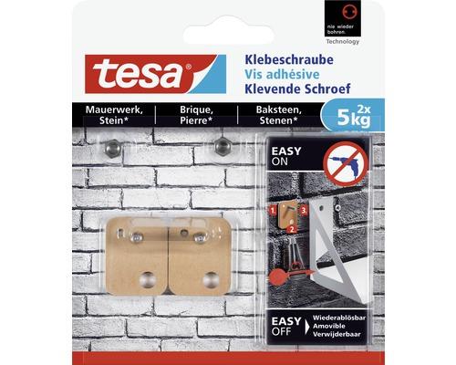 tesa® Powerstrips Klebeschraube kupfer viereckig für Mauerwerk 5 kg Belastung 2 Stk.