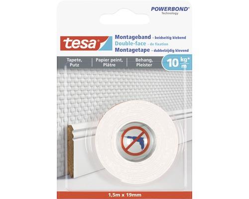 tesa® Montageband weiss für Tapete & Putz 1.5 m x 19 mm