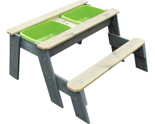 Table de jeu sable-eau et de pique-nique EXIT Aksent avec 1 banc 89x95x50 cm gris