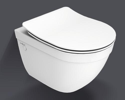 Jungborn Wand-WC-Set Ella verkürzt spülrandoffen weiss mit WC-Sitz