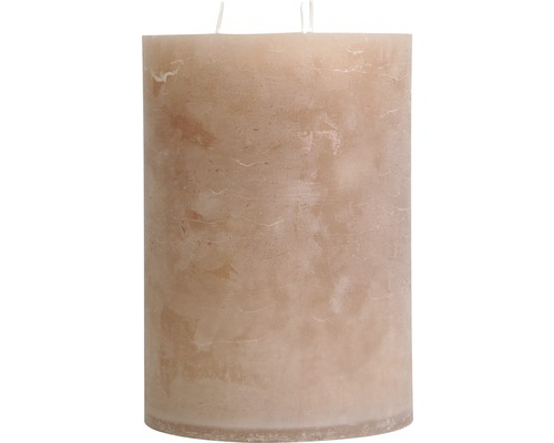 Bougie pilier Balthasar 3 mèches Ø 14 H 20 cm, taupe
