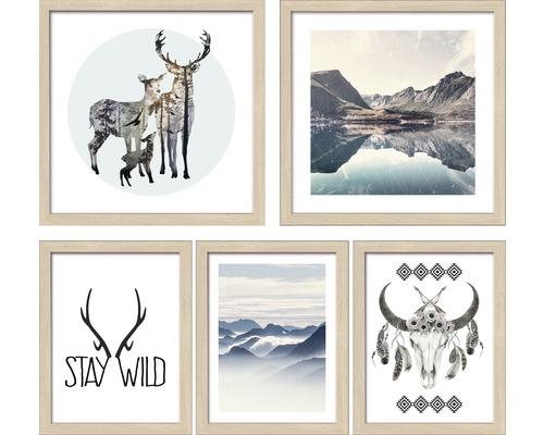 Ensemble de tableaux encadrés Collage NatureMotives2 5 pièces