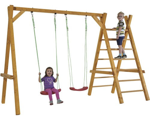Balançoire double y compris accessoires en bois 325x140x210cm