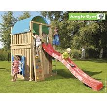 Tour de jeux Jungle Gym Villa en bois avec cabane de jeux, toboggan de couleur rouge