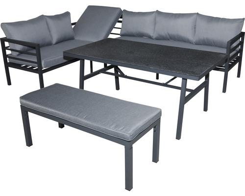 Ensemble de meubles de jardin alu 8 personnes 4 pièces aluminium anthracite
