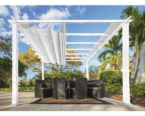 Pergola En Aluminium Pavillon Florenz 11x16 Avec Voile D Ombrage Reglable 350 X 505 Cm Blanc Acheter Sur Hornbach Ch