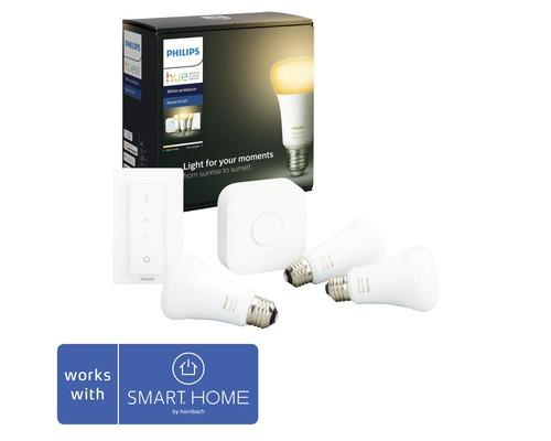 Philips hue Starter-Set Licht White Ambiance dimmbar weiss 3x E27 9,5W 806 lm 2200K-6500 K inkl. 3 Lampen, Bridge, Netzteil, LAN-Kabel und Dimmschalter - Kompatibel mit SMART HOME by hornbach