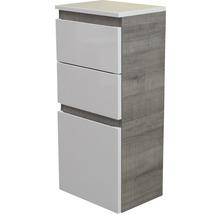 Armoire midi FACKELMANN Piuro largeur 40,5cm blanc à haute brillance chêne gris démonté