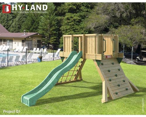 Tour de jeux Hyland Projekt Q1 bois avec mur d'escalade, toboggan vert