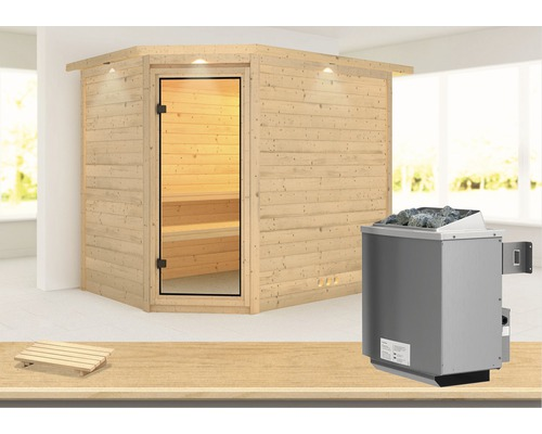 Massivholzsauna Karibu Kanami inkl. 9 kW Ofen u.integr.Steuerung und Dachkranz mit bronzierter Ganzglastür