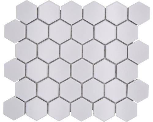 Keramikmosaik Hexagon uni weiss matt 32,5x28,1 cm