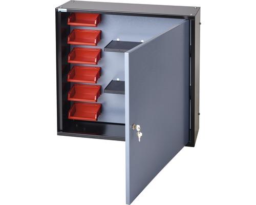Armoire suspendue Küpper argent à effet martelé 600mm 1 porte, 2 tablettes, 6 boîtes