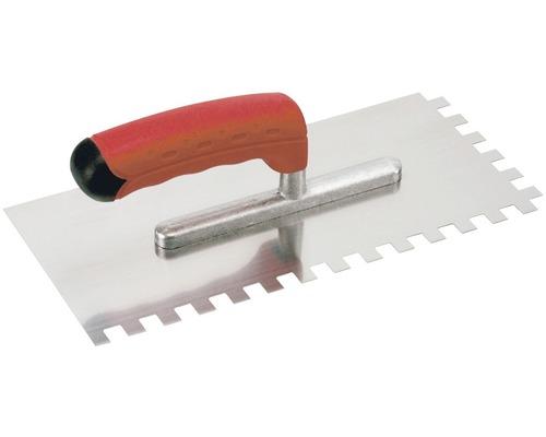 Edelstahl-Glättekelle Kaufmann gezahnt 4x4 mm mit Softgriff